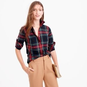 J Crew Perfect Plaid blue red buttoned shirt 4 S